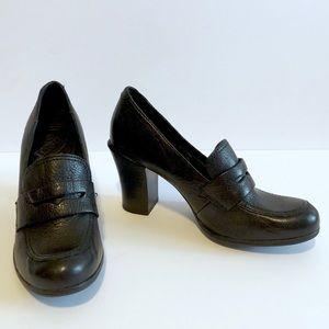 Born Black Leather Heeled Penny Loafer
